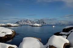 """The blue sea, white ship ..."" (mariya_ka) Tags: blue sea sky snow nature norway islands boat spring travels ship northern lofoten svolvr tamron2470 nikond600"