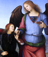 IMG_0669 Pietro Perugino. 1459-1523. Florence. The Virgin and Child with an Angel, the Archangel Raphael with Tobias and the Archangel Michael. vers 1500.   Londres National Gallery. (jean louis mazieres) Tags: london museum painting unitedkingdom muse nationalgallery londres museo peintures peintres perugino leperugin pietrovanucci