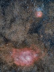 M8&M20 (drumlan) Tags: edge m8 celestron m20 ngc6514 ngc6523 lagoonnebula trifidnebula hd8 hyperstar gum72 rcw146 sharpless25