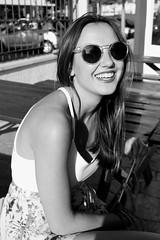 IRUSU, (s,m) Pretender no estar ahí, cuando alguien golpea tu puerta. (Lucia Cortés Tarragó) Tags: sea summer bw love sunglasses canon hair sand friend laugh mallorca amigaespecial