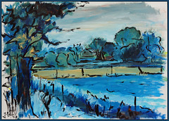 evening (Jocawe) Tags: blue brown black green painting paper evening availablelight dpp acryl ocre canoneos450d paintingpleinair
