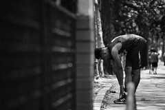 the stretch (_kateylee) Tags: street nyc newyorkcity portrait blackandwhite newyork sports basketball streetphotography streetphoto athlete explorenewyork