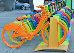 Rack Of Rainbow Bicycles (Greg's Southern Ontario (catching Up Slowly)) Tags: toronto color colour nikon colorful bicycles colourful vibrantcolor vibrantcolour nikond3200 torontoist rainbowofcolor rackofbicycles