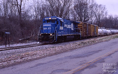 First Run (jwjordak) Tags: road ohio snow sign train us unitedstates cloudy carrollton cr 4097 b237r ohirail ohic s723b