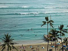 Waikiki Beach (kenjet) Tags: ocean vacation beach palms hawaii boards surf waves view pacific oahu surfer board relaxing wave surfing tourists palmtrees pacificocean palmtree surfers honolulu surfboards waikikibeach surfboarders