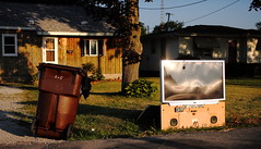 You Ain't So Big Now (jpmatth) Tags: old morning summer color broken trash digital sunrise canon eos lenstagged tv illinois big hometown screen mk2 5d discarded taylorville 2016 ef50mm25compactmacro