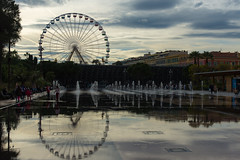 Reflecting on Nice (lncgriffin) Tags: travel france reflection fountain nice nikon europa europe ferriswheel nikkor nizza rpubliquefranaise d610 espacemassena placemassena 24120mmf4gvr lagrandrouedenice
