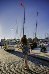 Sunny Days. (jonsomersphotos) Tags: plymouth pedestrian barbican daytime cobbles quayside icecreamvan dockside suttonharbour luggergrayhound
