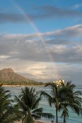 Rainbow over Diamondhead (cjcam) Tags: hawaii hawaiian oahu pacific royalhawaiian waikiki beach clouds coastline diamondhead hotel island mountain ocean palm rainbow shore shoreline sky trees volcano
