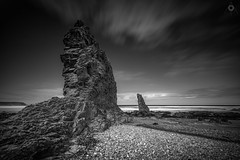 Obelisks (Augmented Reality Images (Getty Contributor)) Tags: beach blackandwhite canon cliffs coastline cullen landscape leefilters longexposure rocks sand scotland sea seascape seaweed tide village water waves