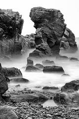Sea Stack at Balnagask, Aberdeen (PeskyMesky) Tags: longexposure blackandwhite bw mist monochrome landscape blackwhite outdoor pov pointofview aberdeen le northsea seastack balnagask northeastscotland greyhopebay