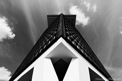 The A'DAM tower II (Johan Konz) Tags: bw adamtower outlook ijriver amsterdamnoord netherlands architecture buildings offices outdoor nikon d90 blackandwhite monochrome diagonal triangle abstract minimalism skyline cityscape