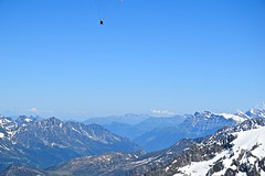 Paraglider Out Amongst the Alps (thaddeusces) Tags: travel mountain landscape flying risk snowcapped adventure mountaineering paragliding mountaineer paraglide adventuretravel
