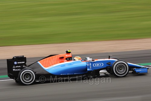 Rio Haryanto in his Manor in Free Practice 1 at the 2016 British Grand Prix