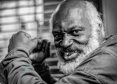 Put 'em Up: Even when times got you down, you gotta keep fighting (Dr_Fu_Manchu) Tags: portrait black pose beard fighter slice grin fighting toothless fists lookalike kimbo
