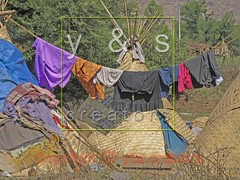 JL050032 (yoyogyogi) Tags: life travel roof india landscape spread indian traditional style dry rope bamboo huts hut strip maharashtra wai cloth shelter cloths shape strips makeshift drying satara vagabonds payacom
