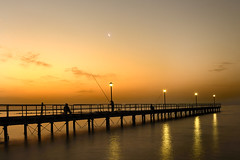 Moon over pier at dawn (Limassol Pier) , Cyprus -    () ,  (Phototamer (OFF + AWAY)) Tags: sea moon seascape sunrise reflections dawn pier seaside fishing fisherman nikon day fishermen cyprus moonrise d800 limassol 247028 goldlight 2470f28    nikon247028 seapier  enaerios fishingonpier limassolpier  charlescharalambous copyrightcharlescharalambousallrightsreserved pwpartlycloudy