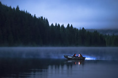 Misty Waters (erika eve) Tags: mist lake oregon boat afterdark boatride trilliumlake mthoodnationalforest
