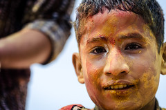 Holi festival, Kathmandu, Nepal (Andrew Taylor Photography) Tags: nepal boy portrait people colour festival celebration kathmandu subject colourful festivity holi bodhnath happyholi colouredpowder playholi