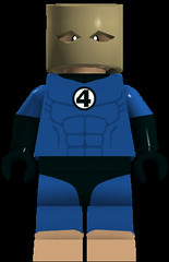 Spider-Man (The Bombastic Bag Man) (911Bug) Tags: blue brown man black feet bag paper four fantastic eyes shoes lego no bare tan spiderman minifig sack bagman minifigure shoeless