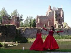 Happy (Paula Satijn) Tags: ladies girls red dress silk skirt gurls gown satin caste ballgown tgirls