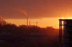 Novosibirsk /  (r-sv) Tags: red building industry constructionarea dawn smoke pump novosibirsk helios reddish pentaxkx        helios58mc44m6 constructioninrussia