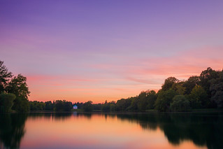 Kassel Aueteich bei Sonnenuntergang