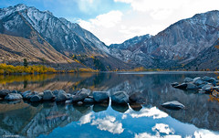 Reflections, Convict Lake (Photosuze) Tags: california autumn mountains fall clouds reflections landscape rocks lakes easternsierras convictlake