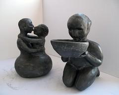 Il baciapile e gli amanti_ tecnica ceramica e grafite