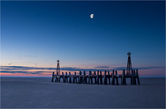 Old Jetty by Moonlight (Chris Beard - Images) Tags: uk november winter england colour beach sunrise landscape dawn pier sand colours lancashire oldjetty stanns seasscape oldlandingstage