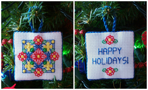 BW Poinsettia Ornament - Front & Back