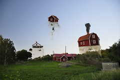Float Buildings (khybinette) Tags: summer photoshop effects break sweden earth farm lol magic bad aliens gravity float hehe hover apart redhouses fallinghumans