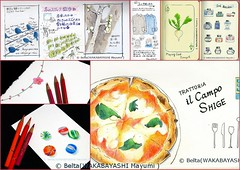 006_2014_02_08_01_s (blue_belta) Tags: food ink lunch sketch bottle candy journal pizza turnip  coloredpencil