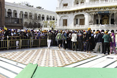 Devotees forming a queue inside the Golden Temple in Amritsar (Ashish A) Tags: india building canon buildings carpet religious temple asia religion crowd queue sikh devotee devotees amritsar digitalslr sikhism goldentemple canoncamera religioussymbol akaltakht goldentempleinamritsar canon650d canont4i peopleinaqueue peoplewearingturbans meninaqueue peopleinsidegoldentemple metalseparators queuesformenandwomen