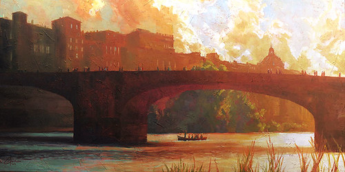 Florence, Italy - The Arno River at Sunset - 24x48