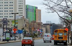 IMG_8235 (kz1000ps) Tags: tower boston architecture grey hotel construction university cloudy massachusetts huntington overcast midtown april fenway schoolbus dormitory avenue northeastern grandmarc