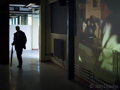 the spy who came in from the cold (Jon Downs) Tags: uk blue brown white man black color colour green art colors silhouette yellow umbrella canon downs photography eos photo code jon artist colours photographer phone image telephone cream picture enigma projection photograph spy gb 5d radiator breaker bletchleypark bletchley johnlecarr thespywhocameinfromthecold jondowns