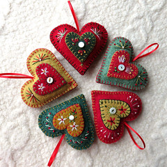 Heart Felt ornaments (FeltSewGood) Tags: christmas wool felted sweater heart embroidery ornament recycle repurposed upcycle fulled