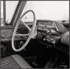 Plymouth interior_Hasselblad (ksadjina) Tags: winter 6x6 film analog austria blackwhite scan oldtimer rodinal tyrol haiming hasselblad500cm silverfast kodak100tmax nikonsupercoolscan9000ed carlzeissdistagon40mmf14 oiler69