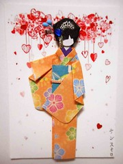 ATC1261 - Yasu (tengds) Tags: pink flowers blue red orange white atc artisttradingcard hearts teal geisha kimono obi origamipaper artcard papercraft japanesepaper washi ningyo handmadecard chiyogami yuzenwashi japanesepaperdoll washidoll origamidoll kimonodoll nailartsticker tengds origamiwashi budstick