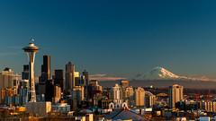 Seattle in 7D. (Brendinni) Tags: seattle blue sky white mountain buildings mountrainier spaceneedle kerrypark seattlecenter seattleskyline portofseattle seattlewa