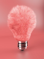 Pink fluffy lamp bulb (ph.trangthuy) Tags: pink red inspiration reflection lamp vertical bulb fur graphic object fluffy equipment single imagination innovation shape concepts threedimensional lampbulb