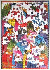 Fantastici Felini (Laurel Burch) - work in progress - 2 (Leonisha) Tags: puzzle unfinished jigsawpuzzle