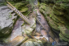 Trail Ladders in Bear Hollow (Kenneth Keifer) Tags: longexposure motion blur green nature wet rock rural creek landscape waterfall moss sandstone whitewater stream secret scenic logs indiana blurred canyon erosion hidden trail limestone ravine gorge remote boxcanyon passage cascade narrow labyrinth crevasse mossy hollow rugged ladders turkeyrun chasm cataract slotcanyon crevice plunge cascading parkecounty plunging turkeyrunstatepark bearhollow trailthree bearhollowfalls