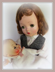 A Mother's Love (Foxy Belle) Tags: baby holiday love vintage doll day mother mothers card his clone ginette cissy