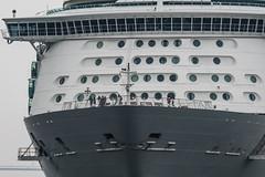 Arrival of a big cruise ship 6 (kmmanaka) Tags: japan nagasaki cruiseship fog rain harbor internationalterminal rose