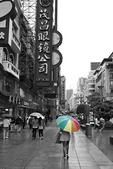 (40emem) Tags: china street white black color colour rain pen umbrella lumix flickr shanghai walk may olympus rainy coloring f25 colouring selective ep3 2016 14mm