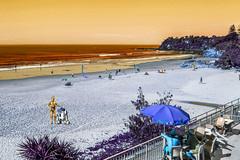 C-3PO and R2-D2 on Tatooine beach (Gillian Everett) Tags: beach manipulated 33 australia robots explore r2d2 queensland hdr 116 c3po 52 tatooine sliders imageart coolum 2016 week20 explored