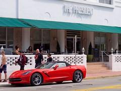 The President Hotel (Travis Estell) Tags: car florida miamibeach sportscar southflorida collinsavenue miamidadecounty thepresidenthotel redsportscar
