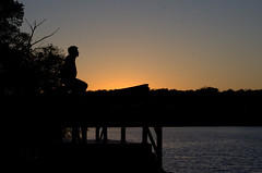 Teach your children well (KsCattails) Tags: park boy sunset lake man reflection water silhouette evening nikon father son kansas fathersday overlandpark shawneemissionpark d7000 kscattails